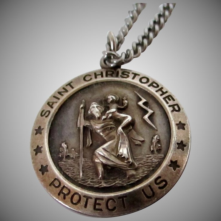 Theda sterling silver st christopher pendant on chain vintage theda sterling silver st christopher pendant on chain vintage mozeypictures Image collections
