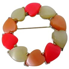 Lucite Hearts Circle Brooch Vintage