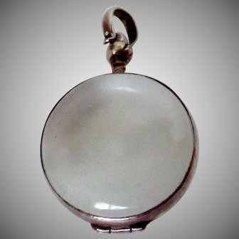 Sterling Silver Round Glass Locket Pendant Vintage