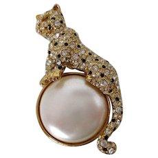 Rhinestone Cheetah Large Faux Pearl Brooch Vintage