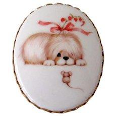 Hallmark Dog Mouse Plastic Brooch Pendant Vintage