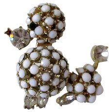 French Poodle White Milk Glass Beads Rhinestones Brooch Vintage
