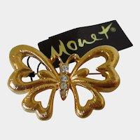 Monet Gold Tone Butterfly Brooch Vintage