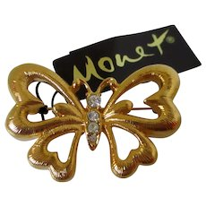 Monet Gold Tone Butterfly Brooch Vintage