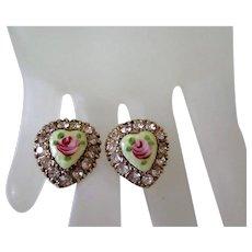 Vargas Heart Rhinestone Rose Screw Back Earrings Vintage