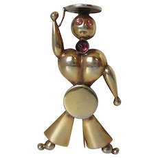 Industria Argentina Navy Muscle Man Gold Tone Brooch Vintage