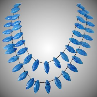 Mesmerizing Blue Swirl Oval Shaped Beads Two Strand Necklace Vintage