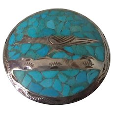 Crushed Turquoise Sterling Silver Roadrunner Pin/Pendant Vintage