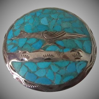Crushed Turquoise Sterling Silver Roadrunner Pin/Pendant Vintage