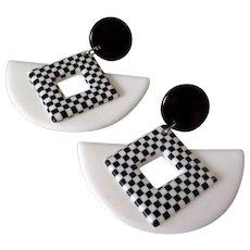 Memphis Style Large Black White Earrings Vintage