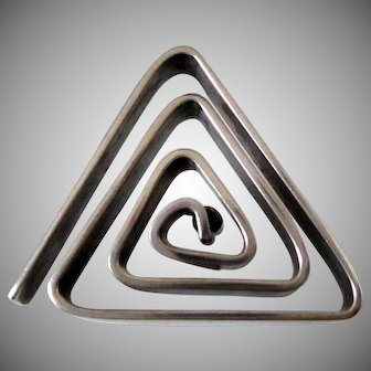 Sterling Silver Handmade Triangular Maze Lapel Pin Vintage
