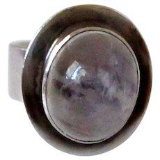 Sterling Silver Moonstone Ring Cigar Band Vintage