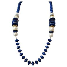 Coro Royal Blue White Beaded Necklace W/Tag Vintage