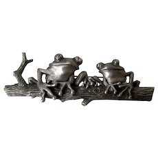 Frogs on a Log Pewter JJ Brooch Vintage