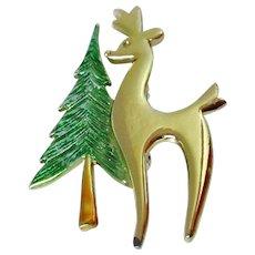 Beatrix Tree Reindeer Brooch Vintage