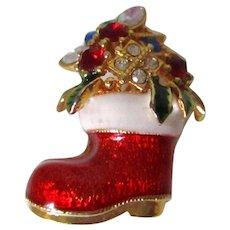 Santa's Boot Red White Enamel Multi Colored Rhinestones Brooch Vintage