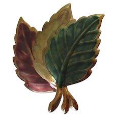 Fall Colored Three Leaf Brooch Vintage
