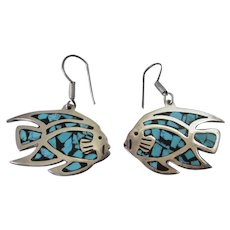 Sterling Silver Large Angel Fish Mexico Pierced Earrings Vintage