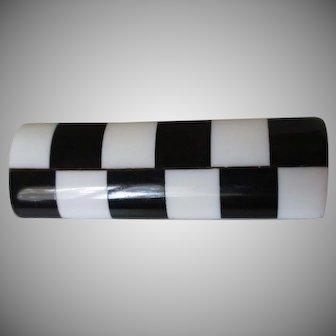 Checkerboard Lucite Rectangular Brooch Vintage