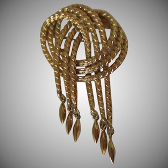 Monet Twisted Rope Style With Dangles Brooch Vintage