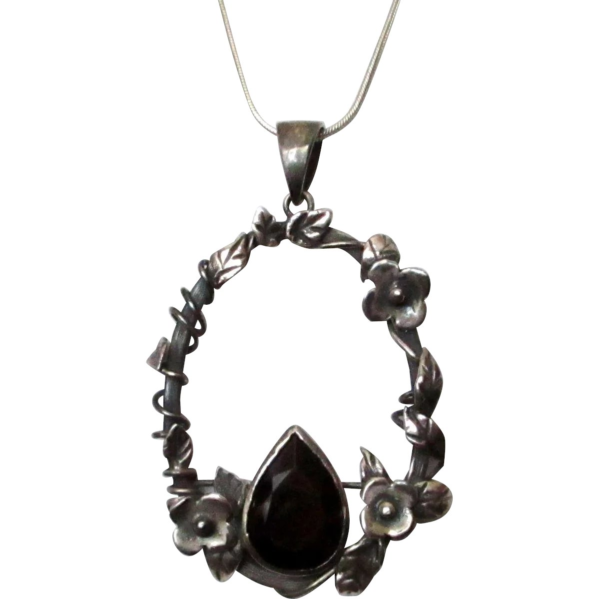419434faf719 Pendant 950 Silver Flowers Vines Leaves Smokey Quartz Colored Glass   Color  Me Red