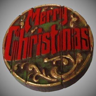 Log Shaped Merry Christmas Plastic Brooch Vintage