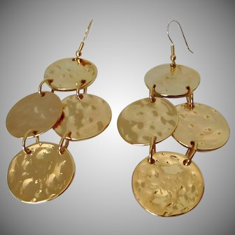 Kenneth Lane Hammered Four Coin Dangle Earrings Vintage