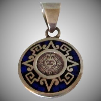 Aztec Mayan Design 950 Silver Pendant/Charm Vintage
