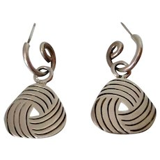 Sterling Silver Triangular Pendant Pierced Earrings Vintage