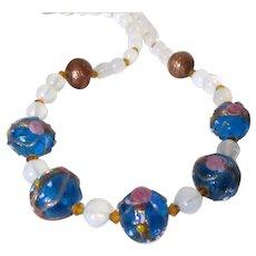 Beautiful Blue Wedding Cake Art Glass Beads Necklace Vintage