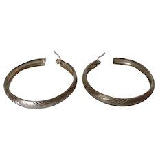 Sterling Silver Large Hoop Pierced Earrings