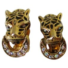 Leopard Head AB Rhinestone Ring Clip Back Earrings Vintage