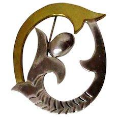 Laton Sterling Brass Oval Shaped Flower Brooch Vintage