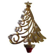 Christmas Tree Gold Tone Jesus Letters Brooch Vintage