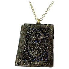 Medical Book Style Locket Double Picture Frame Vintage