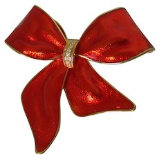 Large Bright Red Enamel Christmas Bow Brooch Vintage