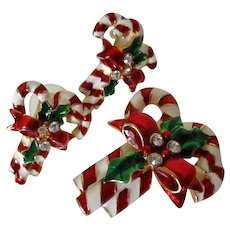 Candy Cane Brooch Earring Set Vintage