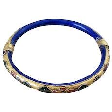 Gold Tone Cloisonne Cobalt Blue Bangle Vintage