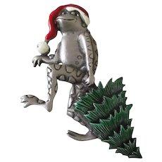 JJ Christmas Pewter Frog Tree Brooch Vintage