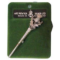 Thistle Pin Art Pewter Silver Ltd 1981 Vintage