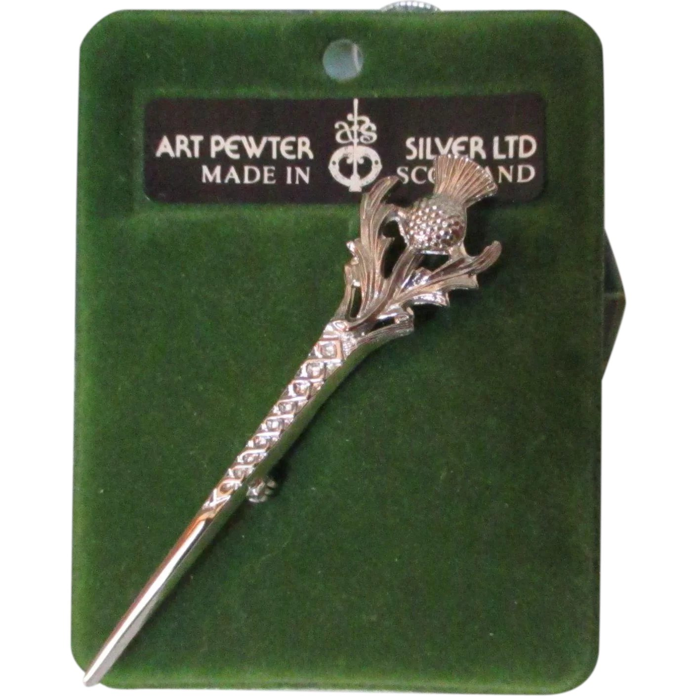 lead free English Pewter handmade in Sheffield uk Q199 Hats etc Dolphin  on a 3 inch Kilt Pin  Brooch for Scarves