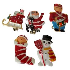 Set of Five Christmas Plastic Covered Scatter Pins Vintage
