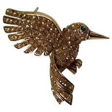 Hummingbird Double Winged Golden Colored Rhinestone Brooch Vintage
