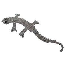 Rhinestone Studded Lizard Gecko Brooch Vintage