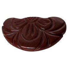 Chocolate Brown Carved Bakelite Brooch Vintage