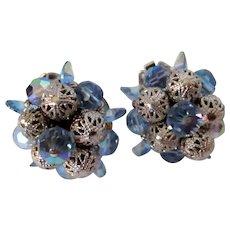 Sherman Blue Rhinestone Filigree Balls Clip Back Earrings Vintage