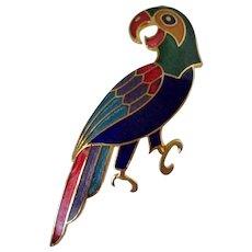 Colorful Parrot Cloisonne Style Brooch Vintage