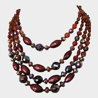 West Germany Four Strand Glass Beaded Necklace Vintage