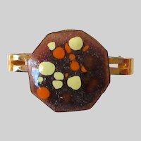 Octagon Shaped Enameled Scarf Clip Vintage