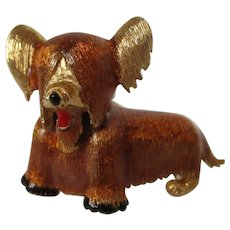 D'Orlan Skye Terrier Rust Colored Dog Brooch Vintage